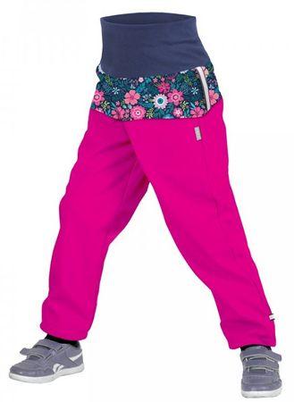 Unuo Dievčenské softshellové nohavice s fleecom Kvetinky SLIM 86/92 ružová