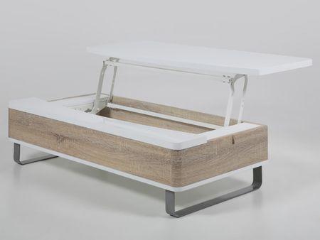 Design Scandinavia Konferenční stolek Stor se zvedací deskou bílá / dub