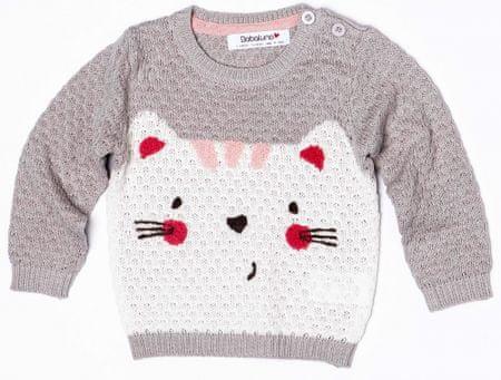 Minoti Dievčenský sveter s mačičkou 56 - 62 sivá