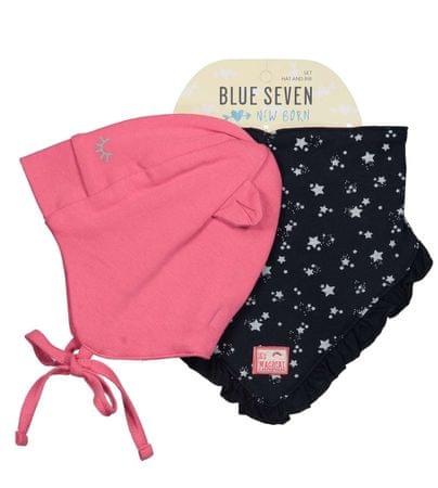 Blue Seven komplet kapa in rutka, 62, roza/črna
