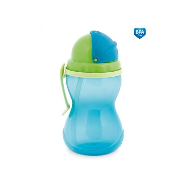 Canpol babies Láhev sportovní se slámkou 370 ml, Modrá