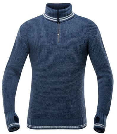 Devold sweter Randers Zip Neck Night/Offwhite M