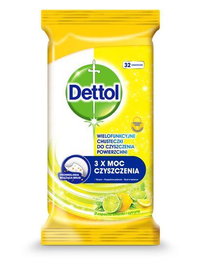 Dettol Antibakteriální ubrousky na povrchy Citron a Limeta 32 ks