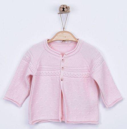 Kitikate Dívčí pletený svetřík vzorovaný 56 růžová