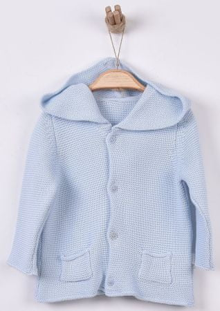 Kitikate Chlapecký pletený svetřík s kapucí 56 modrá