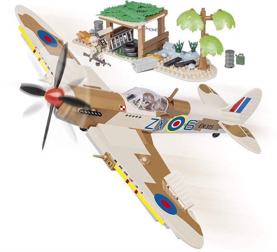 Cobi 5545 Small Army II WW Supermarine Spitfire Pouštní letiště, 400 k, 2 f