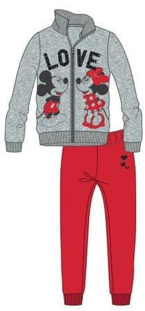 Disney by Arnetta komplet dekliške trenirke Mickey in Minnie, 98, siva/rdeča