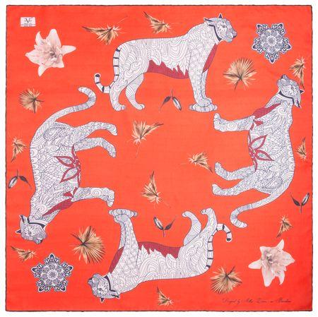 VERSACE 19.69 dámský červený šátek Wild Leopard