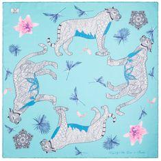 VERSACE 19.69 dámský světle modrý šátek Wild Leopard