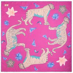 VERSACE 19.69 dámský růžový šátek Wild Leopard