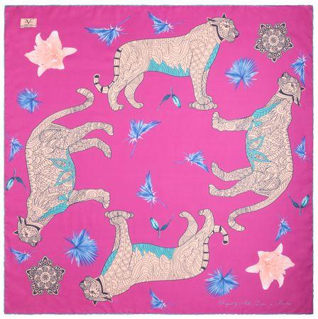 VERSACE 19.69 dámský ružový šátek Wild Leopard