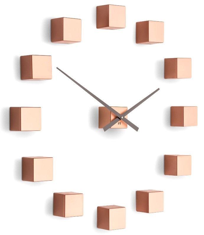 Future Time Designové nástěnné nalepovací hodiny FT3000CO Cubic copper