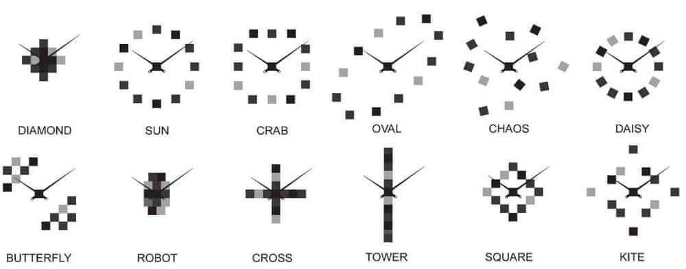 Future Time Designové nástěnné nalepovací hodiny FT3000BK Cubic black - zánovní