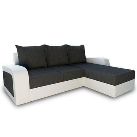 Rozkladacia sedacia súprava, sivá látka/biela ekokoža, SEVILA