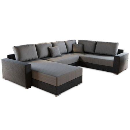 Rohová sedacia súprava, látka čierna/látka sivá, STILO ROH U