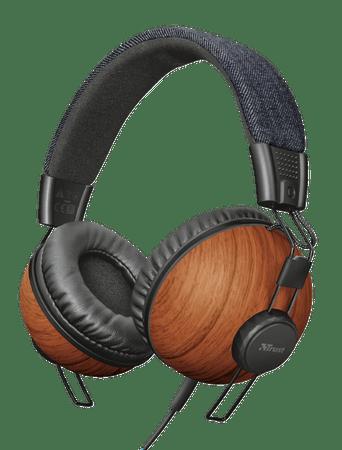 Trust slušalke Noma Denim Wood, rjave