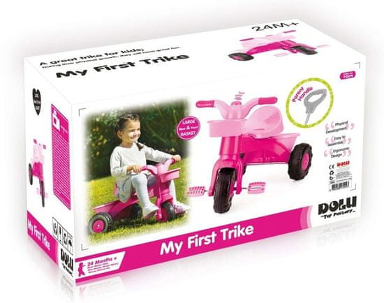 DOLU tricikel z ročajem, roza