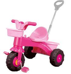 DOLU Moje první tříkolka s rukojetí růžová
