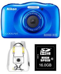 Nikon digitalni fotoaparat Coolpix W100, moder + SD16GB + nahrbtnik