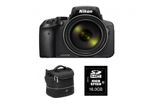 Nikon digitalni fotoaparat COOLPIX P900 + 16 GB SD kartica + torba