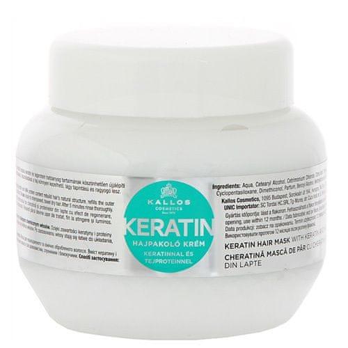 Kallos Regenerační maska na vlasy s keratinem a mléčnými proteiny (Keratin Hair Mask) (Objem 275 ml)