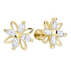 Brilio Květinové náušnice s krystaly 239 001 00920 - 2,65 g zlato žluté 585/1000