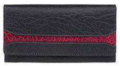 Lagen Női fekete bőr pénztárca fekete / piros W-2025 / IT