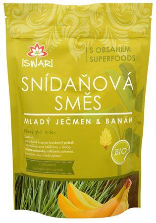 Iswari BIO Snídaňová směs Mladý ječmen, banán, naklíčená pohanka (Objem 3,2 kg)