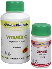 Unios Pharma Vitamín C 1000 mg se šípkem 150 tbl. + Zinek 15 mg 60 tbl. ZDARMA