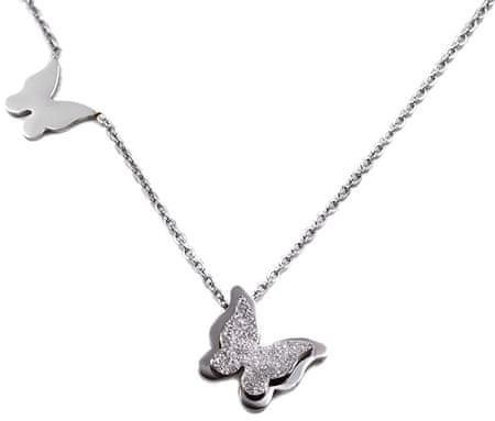 Troli Oceľový motýlie náhrdelník Metal Butterfly KNSC-257-SIL