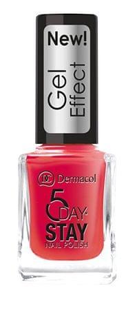 Dermacol Lakier do paznokci z efektem żelu 5 dni pobytu (Nail Polish Gel Effect) 12 ml (cień 28 Moulin Rouge)