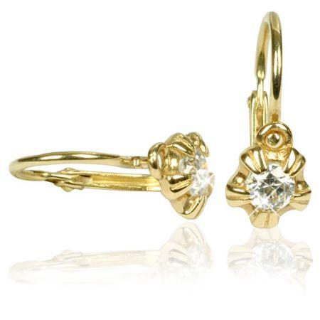 Cutie Jewellery Dětské náušnice C2158-10-1 (Barva růžová) zlato žluté 585/1000