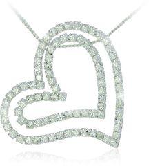 MHM Náhrdelník Křišťálové Srdce Double 31139 (řetízek, přívěsek) stříbro 925/1000