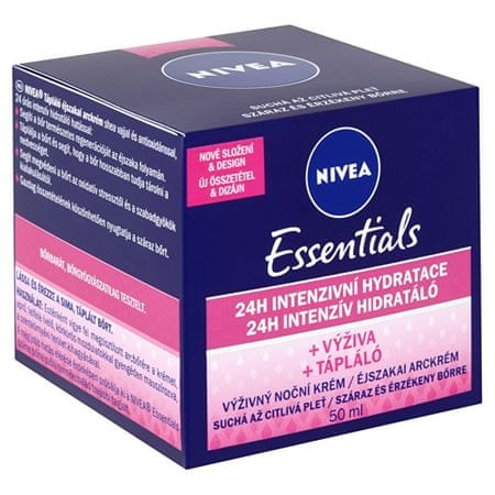 Nivea Essentials tápláló és regeneráló éjszakai krém száraz és érzékeny bőrre 50 ml