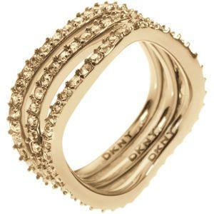 DKNY Tripla soros kristályokkal díszített arany gyűrűNJ1920040 (áramkör 49 mm)