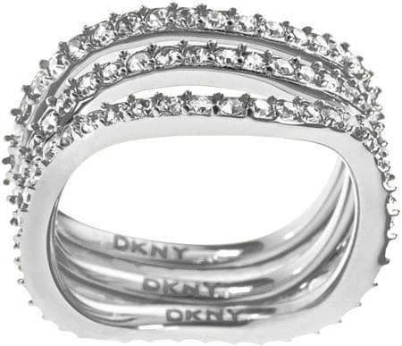 DKNY Tripla soros kristályokkal díszített arany gyűrű NJ1919040 (áramkör 56 mm)