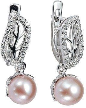 Silvego Strieborné náušnice zdobené perlou a krištáľom FNJE0707-PP striebro 925/1000