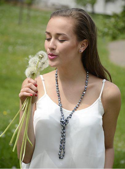 JwL Luxury Pearls Kolczyki wykonane z prawdziwych pereł JL0028 metaliczny niebieski