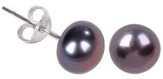 JwL Luxury Pearls Náušnice z pravých kovově modrých perel JL0028 stříbro 925/1000