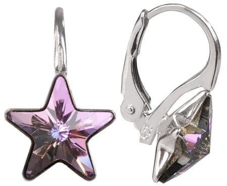 Troli Dievčenské strieborné náušnice Star 10 mm Vitrail Light striebro 925/1000