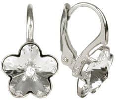Troli Dívčí stříbrné náušnice Flower Crystal stříbro 925/1000