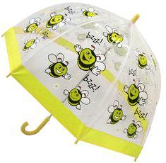 Blooming Brollies Dětský průhledný holový deštník Buggz Kids Stuff Happy Bee BUBEE