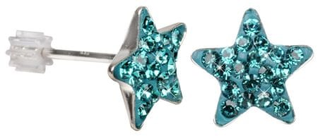 Troli Stříbrné náušnice Star PU10 Blue Zircon stříbro 925/1000