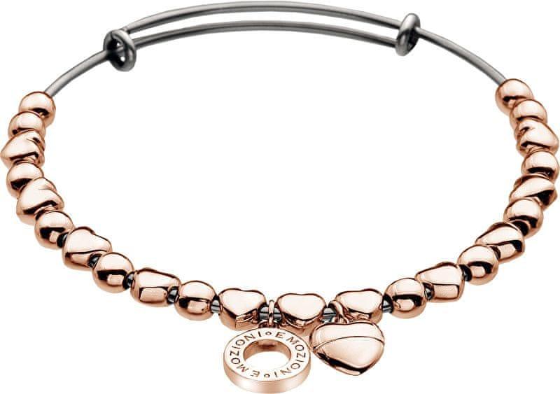 Hot Diamonds Ocelový náramek Emozioni Rose Gold Plate Heart DC095