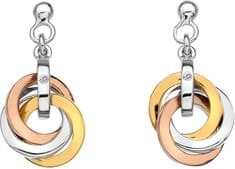 Hot Diamonds Stříbrné náušnice Trio Rose Gold DE389 stříbro 925/1000
