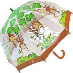 Blooming Brollies Dětský průhledný holový deštník Buggz Kids Stuff Monkey BUMON