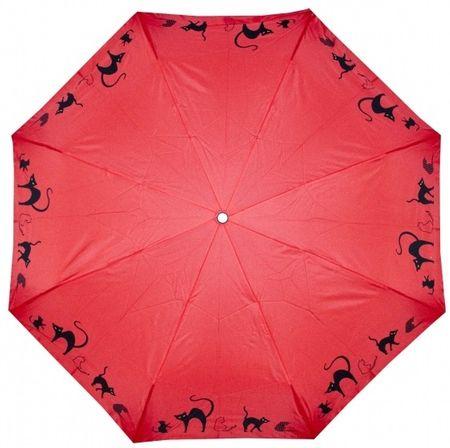 Doppler Dámsky skladací plne automatický dáždnik Cats - červený 7441465C03