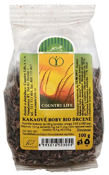 Country Life Bio Kakaové boby nepražené drcené 100 g