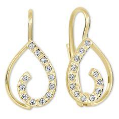 Brilio Zlaté náušnice s krystaly 239 001 00610 - 1,55 g zlato žluté 585/1000