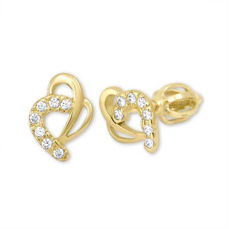 Brilio Zlaté náušnice srdce s kryštálmi 239 001 00583 - 1,30 g žlté zlato 585/1000